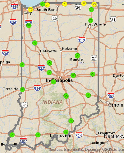 indiana rest area map