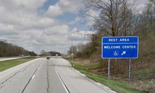 in interstate 64 indiana i64 black river welcome center mile marker 7 eastbound off ramp exit